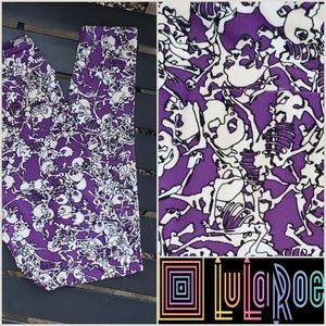 LuLaRoe Pants - Purple Leggings W/Skeletons